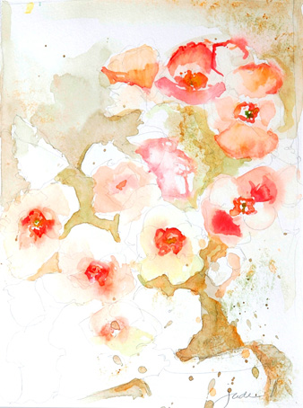 Poppies,_Jude_Quick_2011,_watercolour_on_paper_12″_x_15″_framed_–_$350
