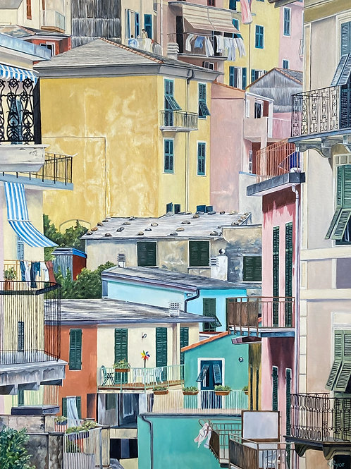 """Laundry, Lunch, And A Whirligig, 30"""" x 40"""""""
