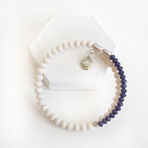 Stacking Bracelet - Purple & Cream with Pearls