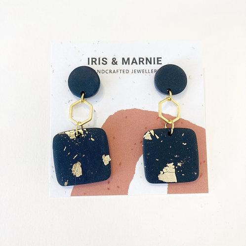 Earrings - Onyx Square Drops