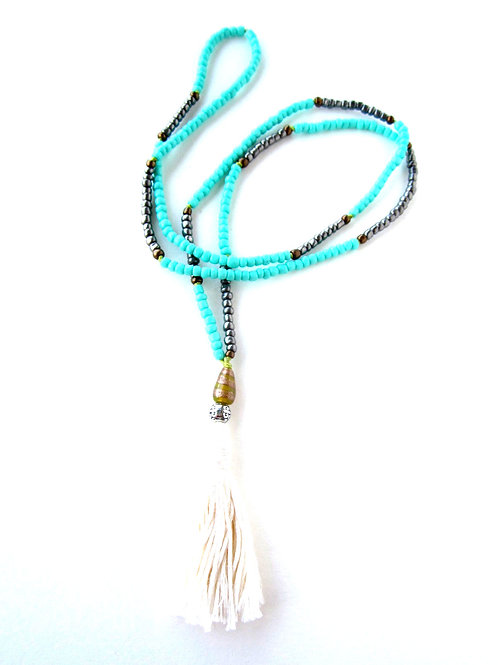 Necklace - Turquoise & Silver with Tassel