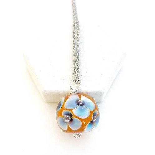 Encased Flower Pendant - Orange with Blue