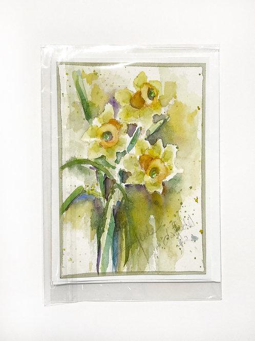 "Original Art Card - Daffodil 2, 5"" x 7"