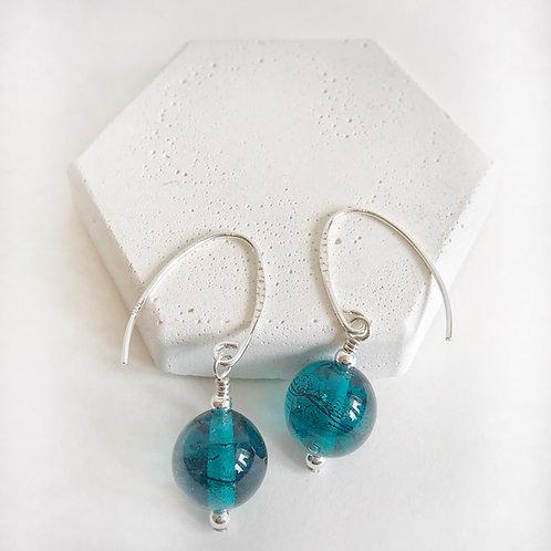 Lampwork Earrings - Teal Translucent