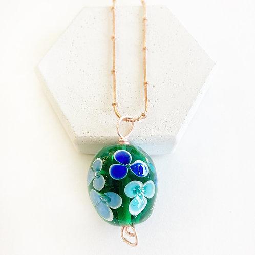 Encased Flower Pendant - Green & Blues