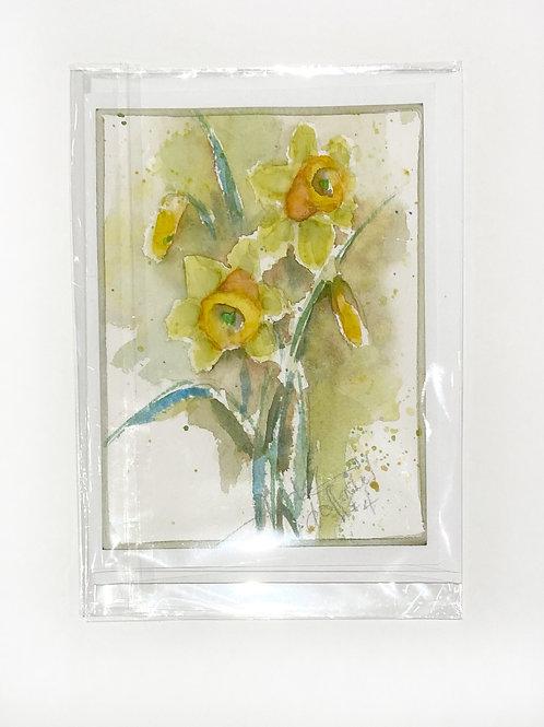 "Original Art Card - Daffodil 4, 5"" x 7"