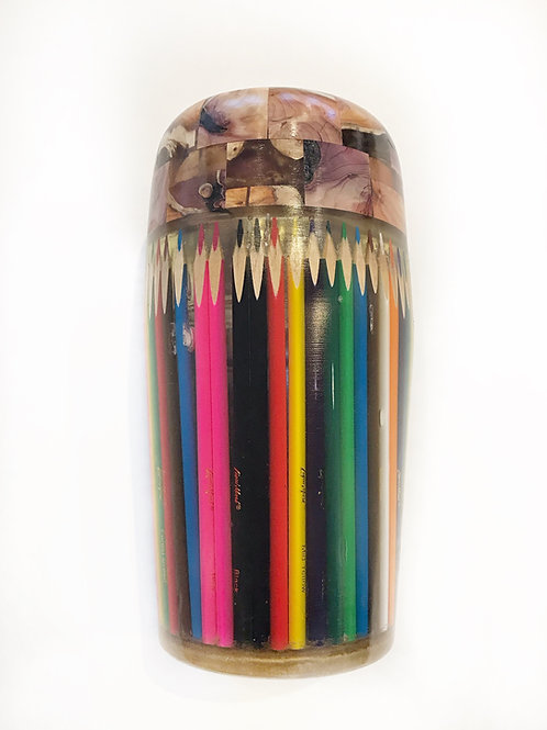 """Pencil Crayon Vase, 5"""" x 10"""""""