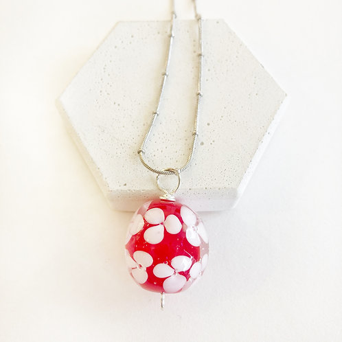 Encased Flower Pendant - Red with White
