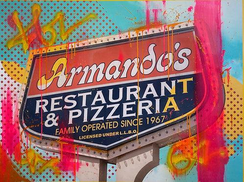 "Armando's Restaurant, by Megan Cornwall, 36"" x 48"""