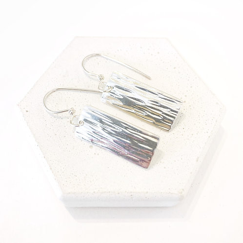 Earrings - Silver Textured Rectangles