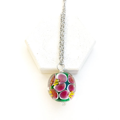 Encased Flower Pendant - Green with Pink & Yellow