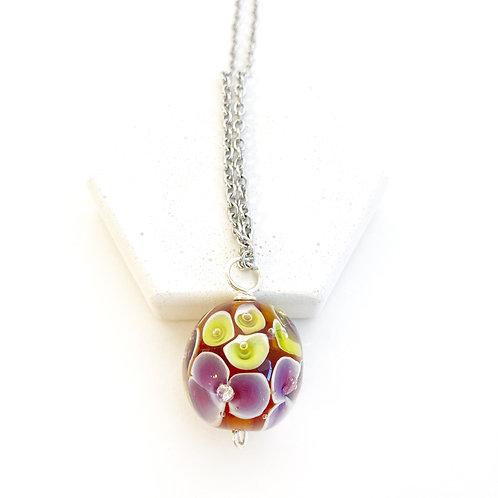 Encased Flower Pendant - Rust with Purple & Yellow