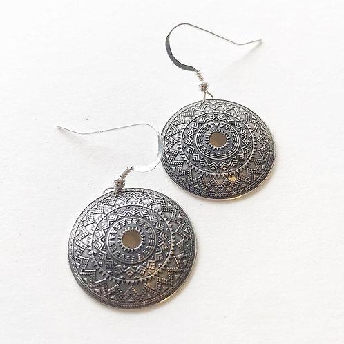 Earrings - Silver Mandalas