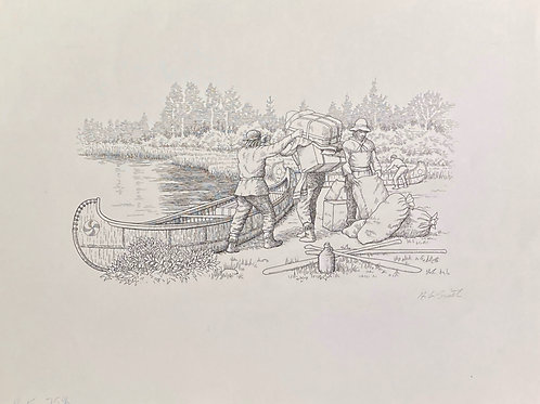 "Fur Trader Canoe Loading, 11"" x 14"""