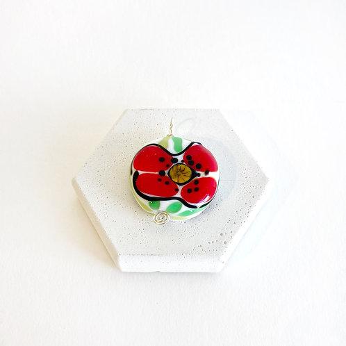 Watercolour Pendant - Poppy
