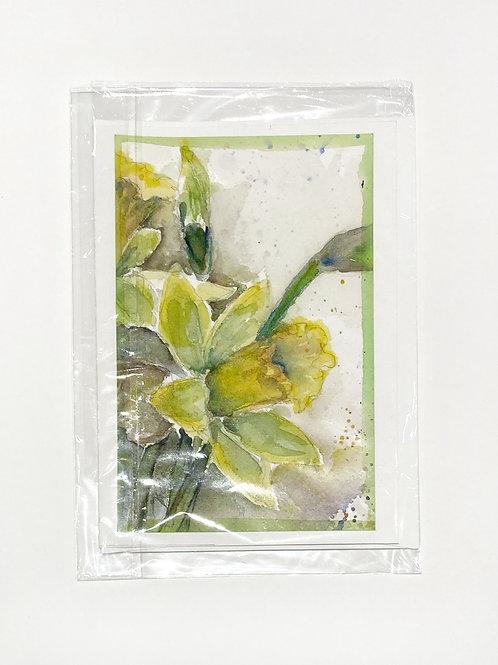 "Original Art Card - Green Border Daffodils, 5"" x 7"