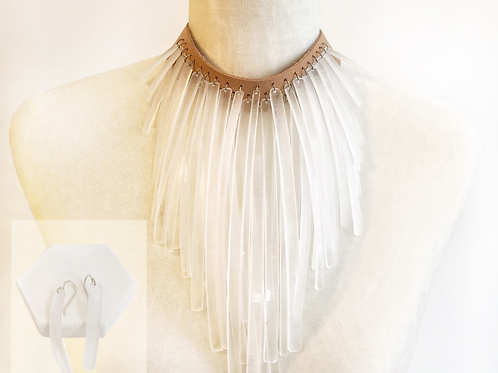 Necklace and Earrings Set - Clear Acrylic