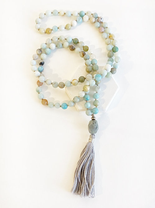 Necklace - Pale Green & Grey