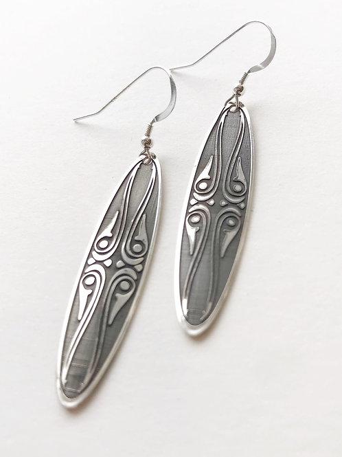 Earrings - Silver Surfboard