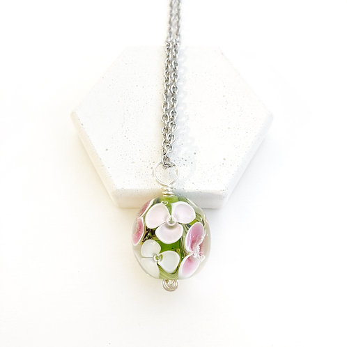 Encased Flower Pendant - Swirled Green with Pinks and White