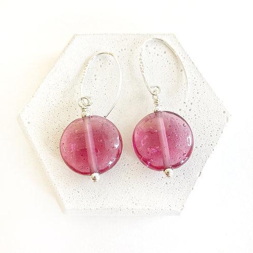Lampwork Earrings - Translucent Dark Pink