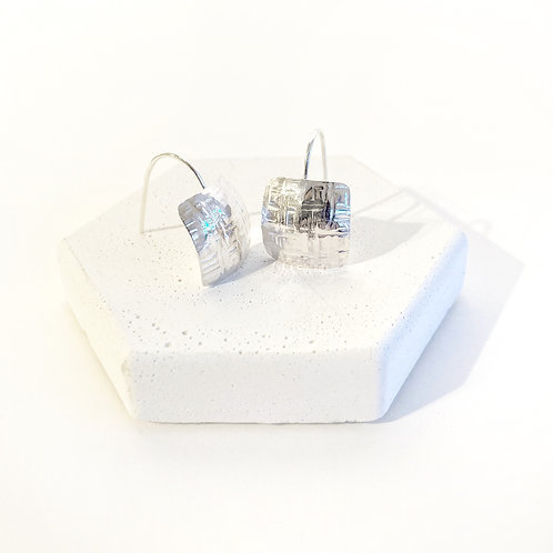 Earrings - Silver Textured Pillows