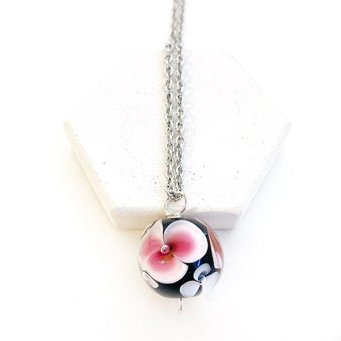 Encased Flower Pendant - Black with Pink & White