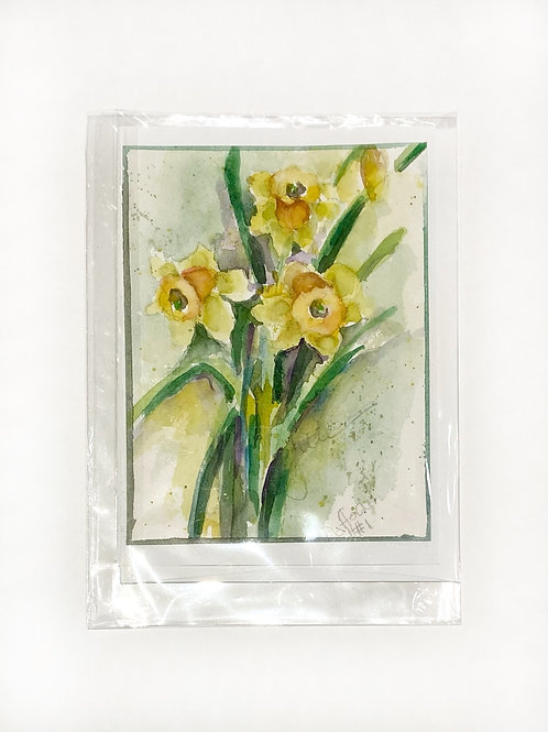 "Original Art Card - Daffodil 1, 5"" x 7"