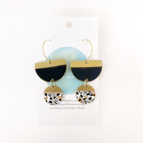 Earrings, Black and Gold
