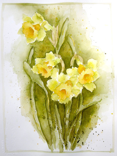 "Daffodils in Yellow & Green, 15"" x 19"""