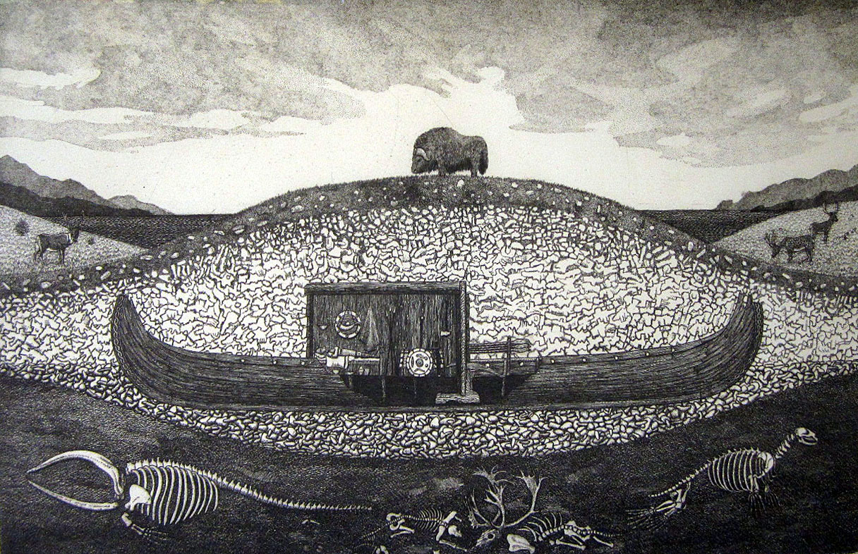 Grave Ship 1950, A.G. Smith 1975, copper plate engraving 17″ x 22″ – $550