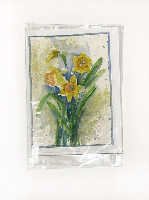 "Original Art Card - Daffodil 3, 5"" x 7"