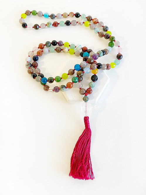 Necklace - Multi-Colour & Red