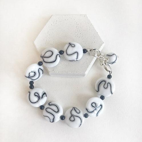 Lampwork Bracelet - White, Grey & Black Squiggles
