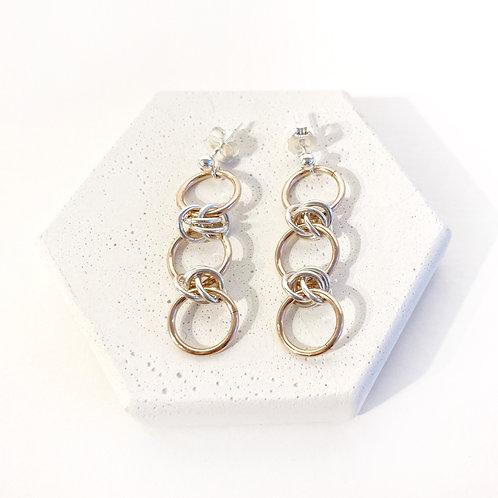 Earrings - Dainty Barrel Silver & Rose Gold