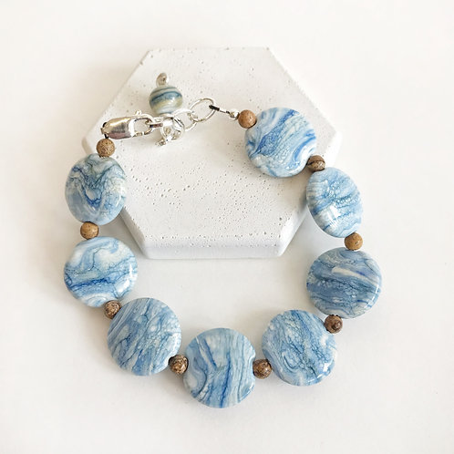 Lampwork Bracelet - Blue Striation