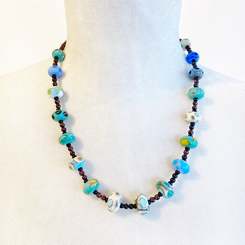 Lampwork Bead Necklace - Blues & Brown