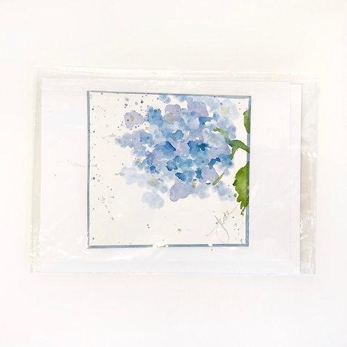 "Original Art Card - Hydrangea, 5"" x 7"