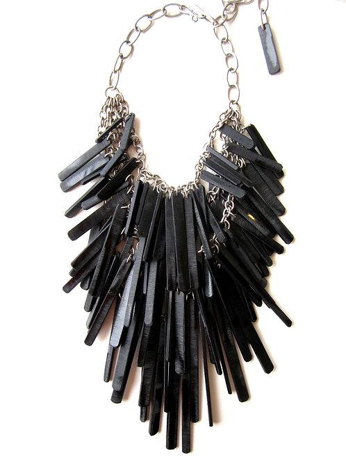 Necklace - Black Acrylic