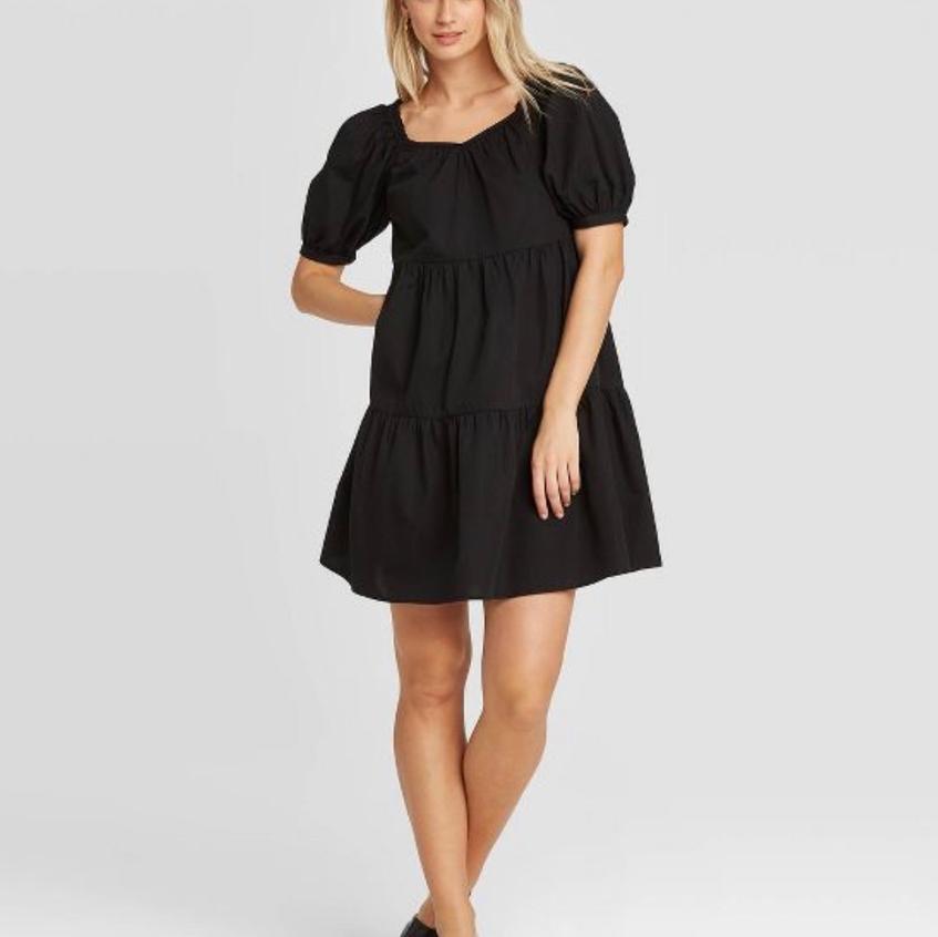 Black Bubble Sleeve Dress