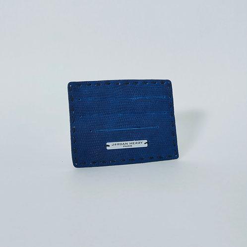 Porte-cartes Bleu Suede texturé