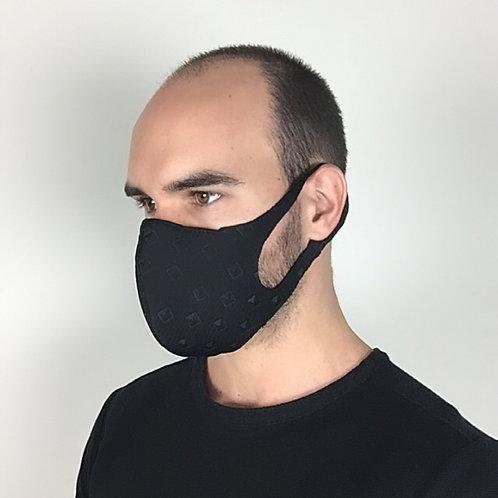 Black embossed studs face mask