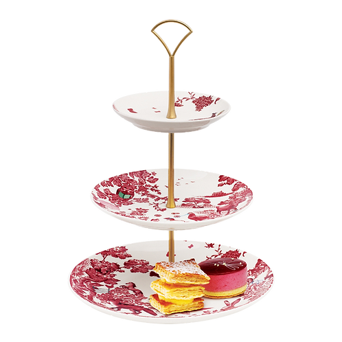 Loveramics A CURIOUS TOILE 27CM 3-TIER CAKE STAND - RED