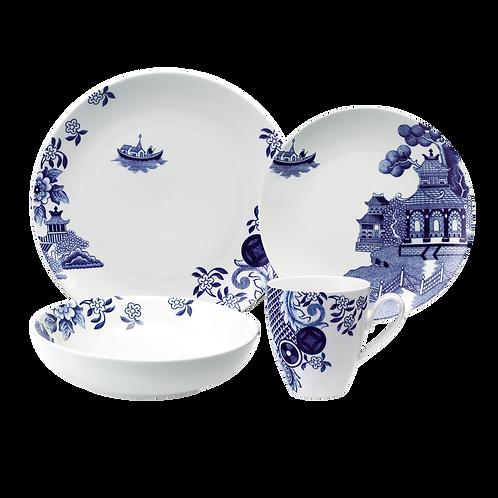 Loveramics WILLOW LOVE STORY 4 piece Dinner Set - Blue