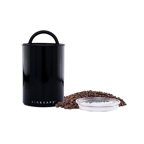"""Airscape Vacuum Airtight Canister 7"""" Obsidian Glossy Black 500g"""