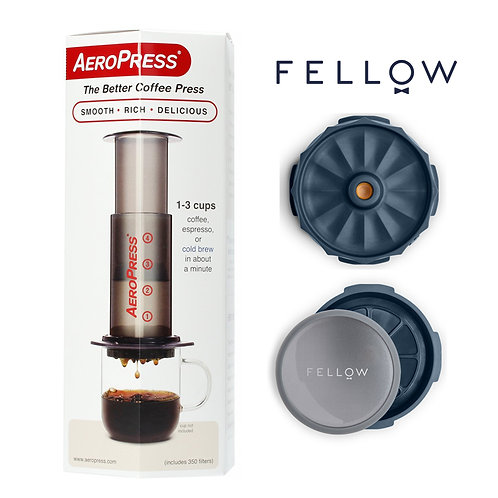 AeroPress & Fellow Prismo Bundle Set with 350 pcs Aero Press paper filters