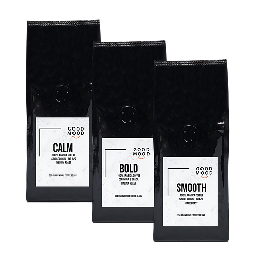 Good Mood Sampler Pack - CALM SMOOTH & BOLD | Whole Coffee Beans | 250 grams