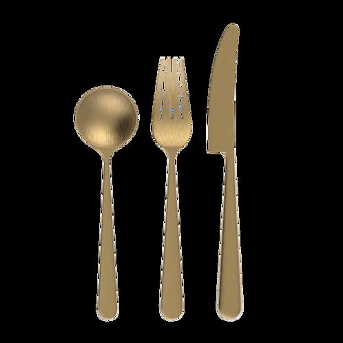 Loveramics Chateau 3 piece Cutlery Set (Spoon Fork Knife) - Brass