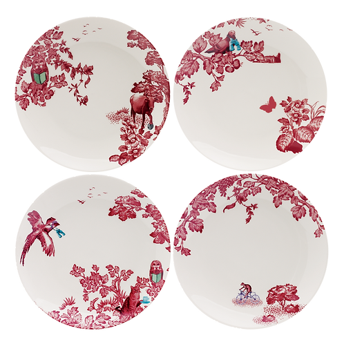 Loveramics A CURIOUS TOILE SET OF 4 X 21CM assorted salad plate - RED