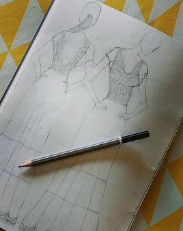 שרטוט שמלת כלה של תופרת שמלות כלה